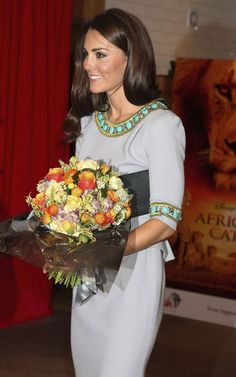 Kate Middleton at African Cats premiere in Matthew Williamson