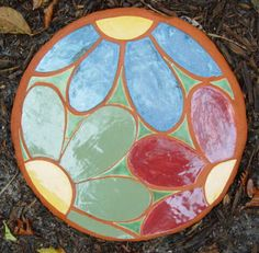 Mosaic flower - stepping stone