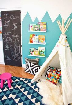 Kids playroom is often fused with kids room to ease parents to supervise their kids. Therefore you need to kids playroom decor appropriate to the age their growth Chalkboard Paint Doors, Chalkboard Decor, Black Chalkboard, Chalkboard Drawings, Ikea Sheepskin Rug, Deco Kids, Toy Rooms, Kids Rooms, Children Playroom