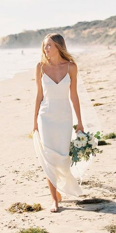 51 Beach Wedding Dresses Perfect For Destination Weddings ❤ beach wedding dresses sheath spaghetti straps sweetheart neckline braedonflynn ❤ See more: http://www.weddingforward.com/beach-wedding-dresses/