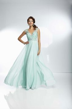 A-line Chiffon V-Neck Natural Waist Floor-Length Backless Sleeveless Prom Dress - Dress2015.com