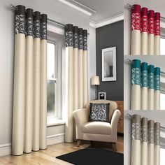 Living Room Paint Curtains - Skye ring top lined eyelet curtains & cushion covers red black silver cream teal Cream Curtains, Drapes And Blinds, No Sew Curtains, Cool Curtains, Curtains Living, Colorful Curtains, White Curtains, Window Curtains, Red And Black Curtains