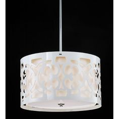 This chrome-finished contemporary chandelier by Hermosa brings light and style to any room. Three bulbs provide ample illumination, while the outer shade's unique cut-out design adds an eye-catching visual detail to the decor of any room.