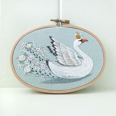 Morning on the Lake Swan Embroidery Beautiful and Serene
