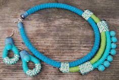 Rope statement necklace and earrings Bib necklace by Jewelry4UOnly
