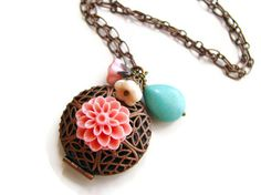 Antique Copper Locket with Pink Mum Cabochon Glass by heversonart, $22.00