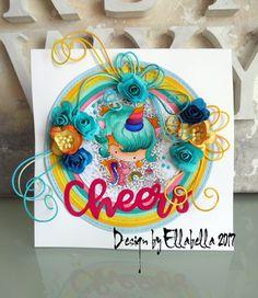 polkadots, Card, cardmaking, crafting, stamping, stempel, stamps, copics, rainbow, einhorn, unicorn, paperflower
