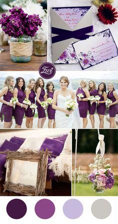шикарный загородный оттенки фиолетового цвета свадьбы и карман свадебные Приглашения на 2016 год