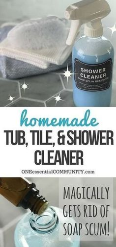 The Best Homemade Shower and Tub Cleaner Double or Triple this recipe for a larger tub or shower! Ingredients 1/2 cup vinegar 1/2 cup Dawn detergent - blue bottle spray bottle Instructions Warm vinegar in microwave for 90 seconds. Combine vinegar and Dawn in spray bottle. Spray on your shower or tub. Let sit for 1hour. Wipe clean