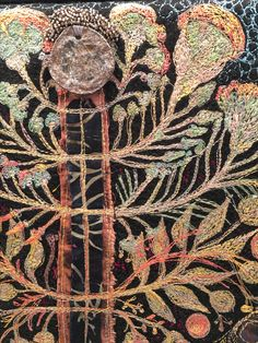 Gordana Brelih, Tree of Life, detail Creative Embroidery, Embroidery Applique, Beaded Embroidery, Embroidery Stitches, Machine Embroidery, Art Textile, Textile Artists, Textile Printing, Form Crochet