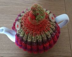 Mint green/lime/chilli red/spice hand knitted tea cosy with wooden button detail - Size Medium - Ready to ship