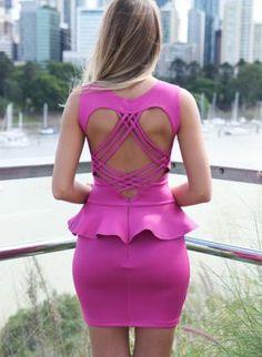 Purple+Bodycon+Peplum+Dress+with+Strappy+Cutout+Back,++Dress,+peplum+dress++cutout+back++sleeveless,+Chic