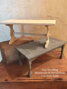 Miniature Farmhouse Table Dollhouse Kitchen Table by TinyDwelling