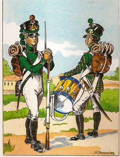 French; Imperial Guard, Regiments of Pupiles, Pupile in Traditional Uniform & Drummer, 1811