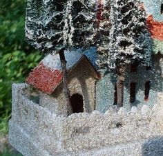 Antique Christmas Collectible cardboard village putz  house