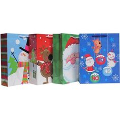 Holiday Time Traditional Value Pack Gift Bags, 4 ct, Multicolor