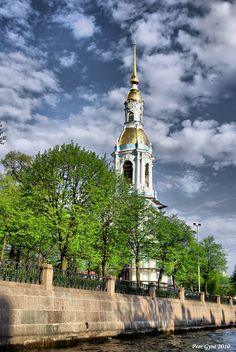 Bell tower of Nikolsky Cathedral in St. Petersburg, Russia.
