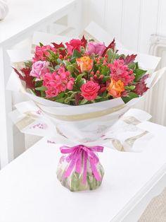 Happy Birthday Autumn Rose and Alstroemeria Hand-tied - Interflora Easter Flowers, Summer Flowers, Spring Flowers, Autumn Flowers, Dublin, Cork, Bridal Flowers, Bouquet Flowers, Bouquets
