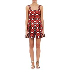 Valentino Women's Floral Cotton-Linen Minidress ($3,350) ❤ liked on Polyvore featuring dresses, red, mini dress, floral dresses, flare dress, red dress and short floral dresses