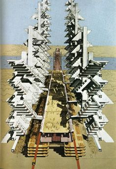 Paul Rudolph's late 60s proposal for an expressway running across lower Manhattan.