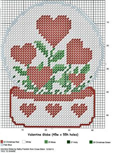 Heart globe Best Picture For knitting christmas For Your Taste You are looking for something, and it Plastic Canvas Ornaments, Plastic Canvas Christmas, Plastic Canvas Crafts, Cross Stitching, Cross Stitch Embroidery, Cross Stitch Patterns, Plastic Canvas Stitches, Plastic Canvas Patterns, Needlepoint Patterns