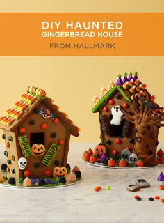 Halloween Gingerbread House | Scare up some fun with a Halloween gingerbread house! Includes gingerbread recipe, patterns and step-by-step instructions. #Hallmark #HallmarkIdeas