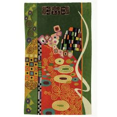 Handmade Klimt brown and green rugs from Kashmir