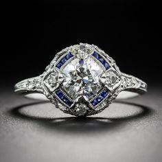 .90 Carat Diamond and Calibre Sapphire Art Deco Engagement Ring