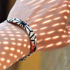 Japanese kimono bracelet. Genuine leather covered in
