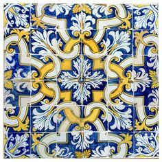 For Sale on - Azulejos polychrome mural composed by 36 tiles in a 6 by 6 module. Produced in Lisbon, century. During the century Lisbon's potteries were Geometric Patterns, Tile Patterns, Tile Art, Wall Tiles, Cement Tiles, Mosaic Tiles, Tiles Uk, Blue Tiles, Tiles For Sale