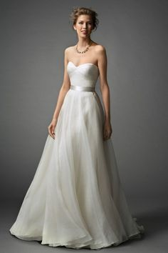 Watters Brides, Spring 2015 Collection, Bridal Gowns, Wedding Dresses Designer, Mabel Gown, This Washed Silk Organza, A-line gown with a Double-Faced Satin Ribbon is simple and sophisticated. Add your own personal flair with a beaded belt or necklace. Sweep train.