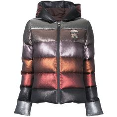Fendi glittery hooded puffer jacket ($2,445) ❤ liked on Polyvore featuring outerwear, jackets, multicolour, multi coloured jacket, zip jacket, striped jacket, long sleeve jacket and hooded puffer jacket