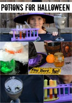 Witches potions for Halloween. Make fizzy, steamy and slimy potions for Halloween Halloween Science, Halloween Potions, Halloween Activities, Halloween Kids, Halloween Crafts, Halloween Party, Chemistry For Kids, Science For Kids, Potions For Kids