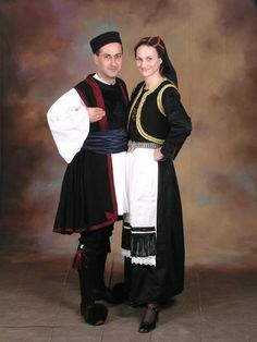 Men's and Women's costume from village of Vovousas, Epirus, Greece Greek Traditional Dress, Traditional Outfits, Folk Clothing, Greek Clothing, Greek Costumes, Costumes For Women, Greek Apparel, Folk Dance, Folk Costume