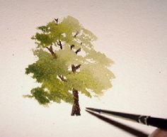 watercolor art instruction, painting trees