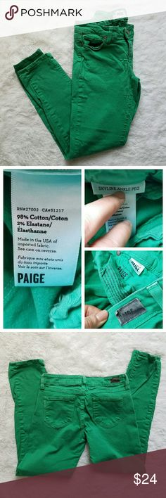 """{Paige} Skyline Ankle Peg Skinny Jeans Emerald green skinny denim from Anthropologie. Gorgeous all-season round. Well-loved; still in lovely condition. There's a bit of fading around back pockets, and a thread stretch near zipper.  (Note the latter pic in the cover shot is not my pic, and is used for style only.)  I am 99% sure these are Size 28, bc my other Paige jeans are. The size wore off on the tag, however. Please see these measurements: 29.5"""" inseam. 8"""" rise. 14.5"""" across laying flat…"""