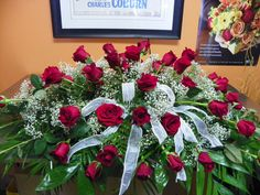 Rose and baby's breath Casket Spray Funeral Bouquet, Funeral Flowers, Wedding Flowers, Remembrance Flowers, Memorial Flowers, Flower Shop Design, Flower Designs, Funeral Floral Arrangements, Flower Arrangements