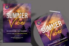 Download Summer Vibes PSD Flyer Template for free. This flyer is editable and suitable any type of summer night, beach party, sunset event, dj, tropical music and other.