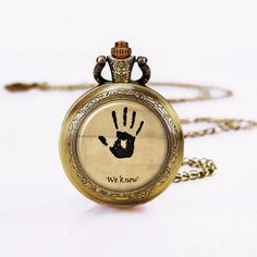 We Know   Pocketwatch Necklacehand Video Game Round by WomenGifts, $16.88