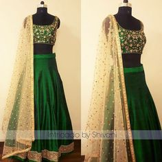 Kundan and pearl embroidered Lehenga in pure raw silk.For enquiry/order. 22 October 2017
