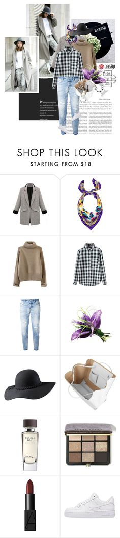 """""""Oasap 2.11"""" by crazy-daisy1 ❤ liked on Polyvore featuring Versace, Dsquared2, Alexander Wang, Salvatore Ferragamo, Bobbi Brown Cosmetics, NARS Cosmetics, NIKE and oasap"""