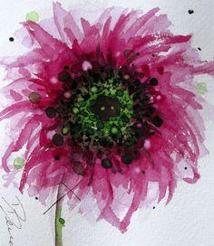 Sunflower Watercolor Dark Pink Flower Art Print by dawndermanart