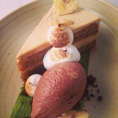New Frontera menu hilite: rstd banana cake w piloncillo buttercr, Oax choc ice cr w salted peanuts, tstd meringue