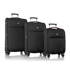 Heys America Luggage Argus 3 pc Set Suitcase Spinner Electric Black So – LazyBreeze Deals