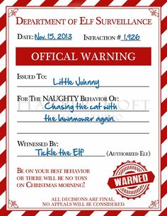 Does your little on need an Elf Warning for being naughty! You will want to PIN or bookmark this page so you can print your FREE Elf Warning for Naughty Kids – when needed! Noel Christmas, All Things Christmas, Christmas Crafts, Christmas Ideas, Funny Christmas, Christmas Ecards, Christmas Decorations, Preschool Christmas, Christmas Foods
