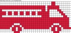 Cross stitch pattern for fire truck. Maybe add this to the crocheted blanket??