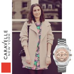 Natalie is wearing our Silver-Tone 45L143, coming to stores this spring! #Caravelle #LFW #StreetStyle #Pink #Silver #Spring #SS14 #Fashion