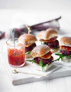 beetroot and halloumi sliders with chili jam