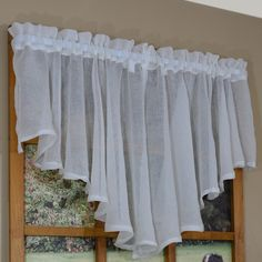 Found it at Wayfair - Falmouth Flounce Curtain Valance Cute Curtains, Crochet Curtains, Drapes Curtains, Window Cornices, Valance Window Treatments, Kitchen Valances, Curtain Designs, Valance Ideas, Windows