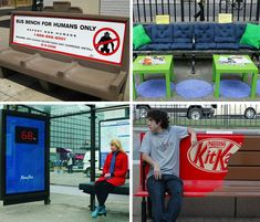 Creative benches, and two are from Alberta... check out creative guerilla marketing http://www.creativeguerrillamarketing.com/guerrilla-marketing/15-clever-bench-guerrilla-marketing-examples/ for the whole article